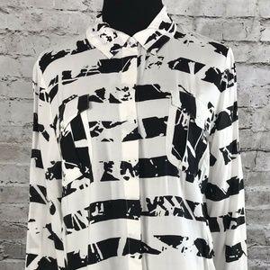Splendid Womens Blouse Top Button Black White 80's